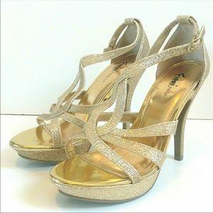 Shoes - Fioni Night Gold Glitter Sandals Sz 11